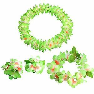 Hawaiian Grass Hula Dancer Skirt Garland Necklace Flower Leis Fancy Dress Beach