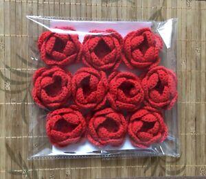 10 NEW HANDMADE CROCHET FLOWERS SIZE 6 CM  RED
