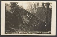 Postcard Bournemouth Dorset disaster The Wrecked Tram Car accident 1908 RP