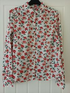 Cath Kidston Red Rose Bloom Shirt Blouse Size 10