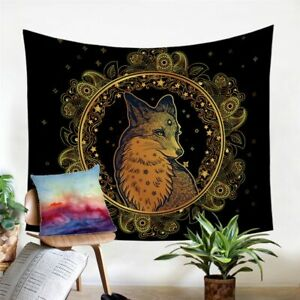 Fox Animal Gold Floral Wall Tapestry Hanging Throw Cover Home Room Decoration
