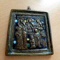 "19th Century Antique Russian Bronze Orthodox Religious Travel Icon Saints 2"""
