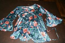 Oh! Mamma Maternity Satin Ruffle Sleeve Blouse Tie Waist Floral Top Large