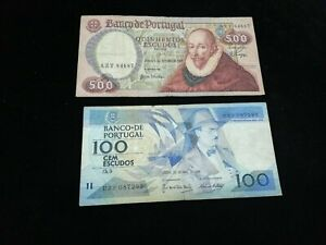 PORTUGAL  LOT OF 2 BANKNOTES 100-500 ESCUDOS 1979-1988