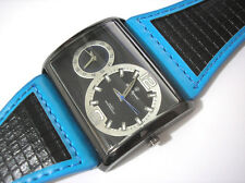 Black Metal Big Case Leather Band 2 Time Zone Men's Watch Blue Item 2567