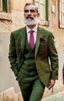 Fashion Men's Wool Tweed Check Plaid Vintage Suit Groom Tuxedos Dinner Prom Suit