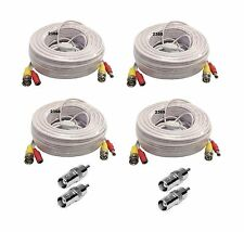 4 x 150Ft Video Power BNC RCA Cable for Night Owl CCTV Security Cameras - White