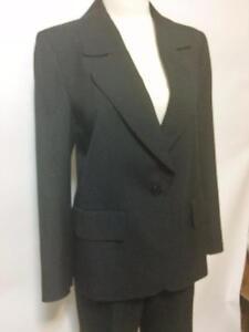 Tom K.T. Chui Hong Kong Custom Tailored Traditional Pant Suit Black Sz 6 Classic