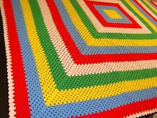 "HANDMADE CROCHET BEDSPREAD GRANNY SQUARE AFGHAN BORDER 86"" x 86"" PRIMARY COLORS"