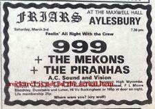 MEKONS 999 PIRANHAS 1979 UK PUNK Press ADVERT 2x3 inches