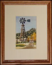 New Mexico Windmill, Watercolor Miniature by Vivian Ashcraft, Framed