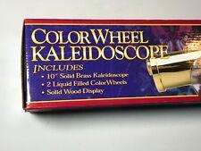 "VINTAGE KOCH KALEIDOSCOPE 10"" BRASS 2 LIQUID COLOR WHEELS WOOD DISPLAY NIB"