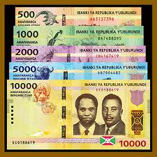 Burundi 500 1000 2000 5000 10000 Francs Set, 2015 Unc