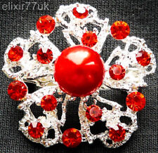 NEW SILVER PIN BACK FLOWER BROOCH RED PEARL JEWELLERY BOUQUET STERLING LOT SOLID