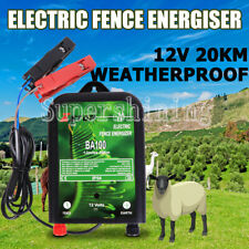 20KM 12V Electric Fence Charger Energiser Energizer Power Wire Poly Posts