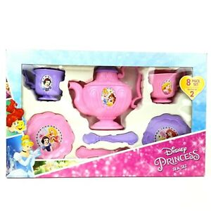 Girls Disney Royal Princess Tea Set 8pc Snow White Belle Cinderella Ariel Age 3+