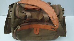 Vth Hartmann Canvas Overnight Shoulder Bag/Carry on  Brass Hardware Leather Trim