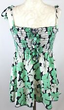 JUICY COUTURE Women Floral Print Smocked Strappy Top A-Line Medium 10 12 Green