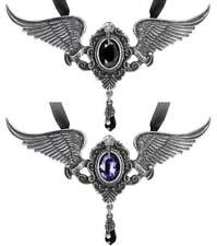 My Soul from the Shadow Poe Raven Wing Crystal Necklace Alchemy Gothic P767