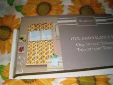 3 PC SUNFLOWER Kitchen Curtains Tier & Valance Set