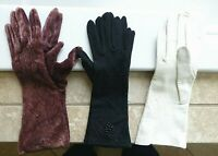 3 Pair Elegant Vintage Ladies Gloves Kid Leather Velvet Black Beaded Bracelet