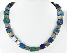 Gorgeous Precious Stone Necklace In Pyrite and azurit-malach Fan IT CUBE SHAPE