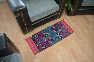 Bohemian Rug 1.2x3 ,Turkish Rug,Vintage Rug,Door Mat,Antique Rug,Unique Rug.