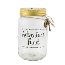 Adventure Fund Glass Jar Holiday Travel Coin Saving Piggy Bank Money Box Tin