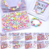 1Box Girls Children Acrylic Beads Jewelry Making Kit Kids Creative Craft Toy A-H