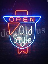 "Old Style Beer Open Neon Light Sign 24""x20"" Beer Lamp Real Glass Decor Artwork"