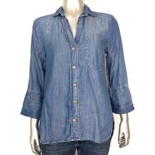 Cloth & Stone Womens Size XS Blue Chambray Denim 3/4 Sleeve Button Down Shirt