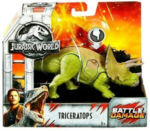 Jurassic World TRICERATOPS Battle Damage Dinosaur Figure Fallen Kingdom Toy 3+