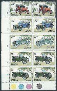 SAMOA 1985 Vintage Cars in plate blocks of 4 MNH...........................41444