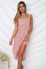 CA Womens Summer Holiday Beach Midi Dress Ladies Strappy Button Swing Sundress