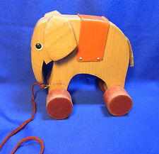 Vintage German Haba Wood Pull Toy Elephant #W*