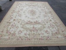 Old Hand Made French Design Wool Beige Pink Large Original Aubusson 370X270cm
