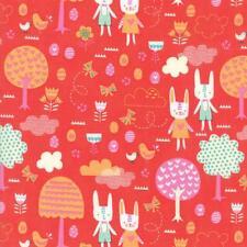 Moda Tela primavera Bunny diversión la gran caza Geranio-por 1/4 Metro