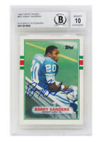 Barry Sanders Signed 1989 Topps Rookie 83T (Beckett Encapsulated/Auto Grade 10)