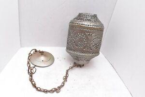 Moroccan Pierced Metal Brass Hanging Swag Lamp Boho Light Pendant Chandelier VTG