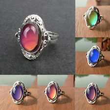 Vintage Retro Oval Temperature Control Color Change Mood Rings Party Jewelry