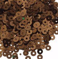 1200 Pailletten 4mm Braun Rund Glatt Perlen Basteln Nähen Dekoration BEST PAI35