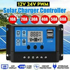 10/20A 30A 60A ADual USB Solar Panel Battery Regulator Charge Controller 12V 24V