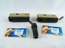 2 Kodak Hawkeye Pocket Instamatic Cameras With Manuals And Light Cube Riser