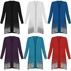 Ladies Glitter Sequin Sparkle Open Front Cardigan Womens Long Sleeve Party Top