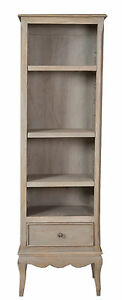 Loire French Grey Solid Mango Wood 1 Drawer Slim Bookcase / Fully Assembled