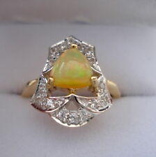 Rare Certified Natural Indonesian Opal Gold Ring