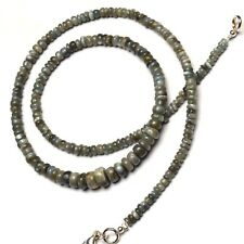 Natural Gem Chrysoberyl Cats Eye Smooth 3 to 7MM Rondelle Beads Necklace 17""