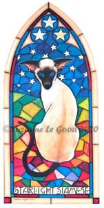 Siamese Cat art print Gothic signed from original painting by Suzanne Le Good