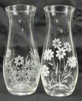Vintage CAMEO Clear Crystal Hand Cut Etched Bud Vase / Wedding Decor set of 2