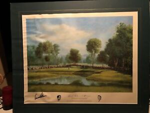 Autographed Arnold Palmer Lithograph Arnold Palmer On The 12th Green 1960 US Ope